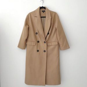 Topshop Double Breasted Camel Duster Coat